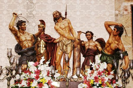 flagellation: image of the sculpture group of the Flagellation of Christ Stock Photo