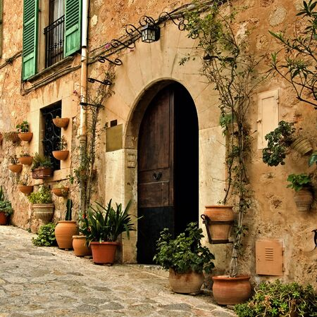 mallorca: a view of a little old mediterranean village