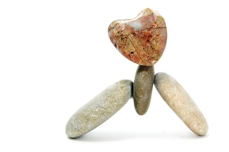 thalasso: zen stones with heart on a white background Stock Photo