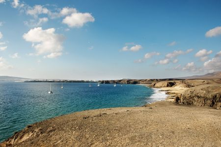 mujeres: a view of Playa Mujeres, in Playa Blanca, Lanzarote, Canary Islands, Spain