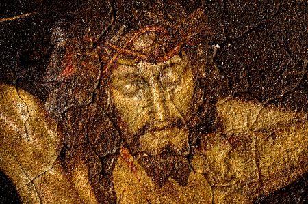 jesus on the cross: figure of Jesus Christ on vintage background