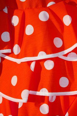 lunares rojos: cerca de un vestido rojo de flamenco, típico de España