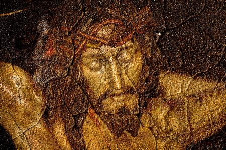 procession: figure of Jesus Christ on vintage background