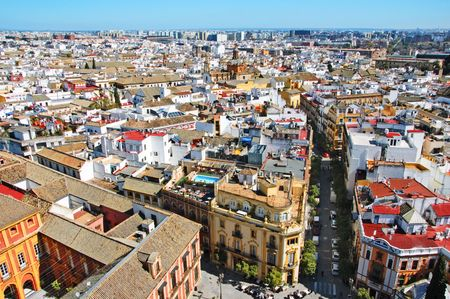 seville: aerial view of Sevilla, Seville, Spain Stock Photo