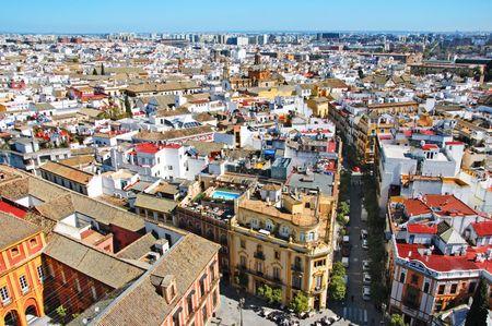 sevilla: lucht foto van Sevilla, Sevilla, Spanje  Stockfoto