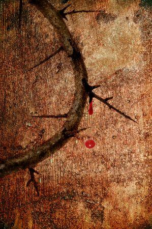 doornenkroon: Vintage achtergrond van de Jezus kroon van doornen met bloed