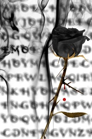 a black rose on a emo background with blood and smoke photo