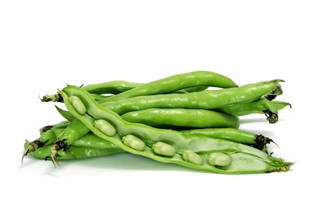 haba: close up of some broad bean pods with the beans inside