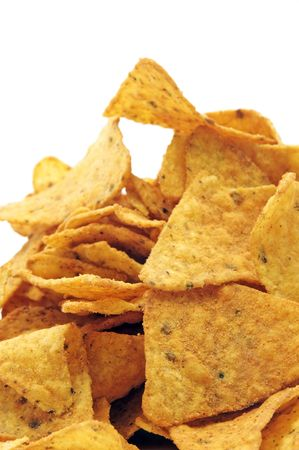 a pile of nachos isolated on a white background photo