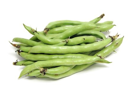 bakla: closeup of some broad bean pods with the beans inside Stok Fotoğraf