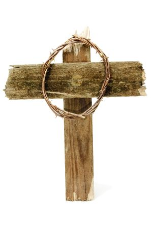 jesus cross: the crown of thorns and the cross of Jesus Christ