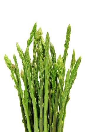 a pile of green asparagus isolated on a white background photo