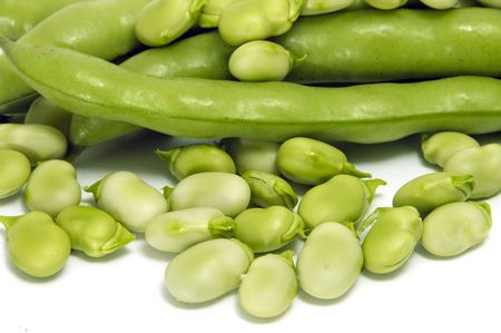 haba: close up of some broad beans and some broad bean pods
