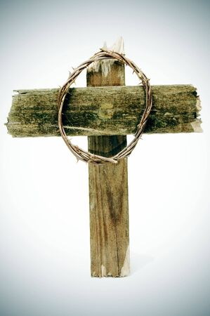 golgotha: the crown of thorns and the cross of Jesus Christ