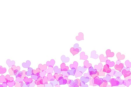 lovingly: pink hearts drawn on a white background