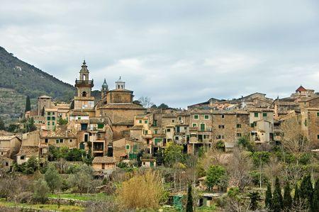 balearic: panoramic view of Valldemossa, Mallorca, Balearic Islands, Spain Stock Photo