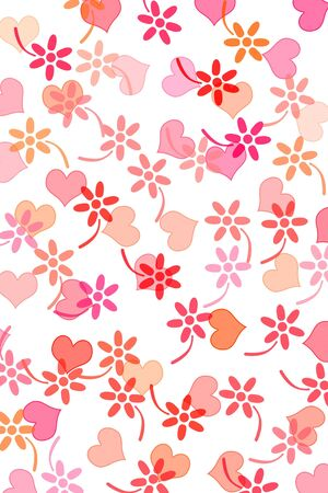 hearts and flowers drawn on a white background photo