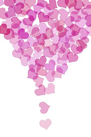 lovingly: some pink hearts drawn on a white background