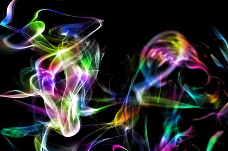 airiness: colored smoke isolated on a black background