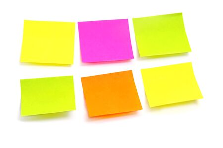 memo board: post it in different colors on a white background
