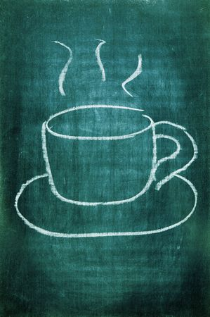 a cup of coffee drawn with a chalk on a blackboard photo