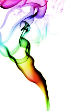 airiness: colored smoke isolated on a white background