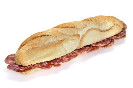 spanish salami sandwich isolated on a white background photo