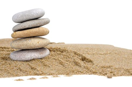 zen stones and sand on a white background Stock Photo - 6895836