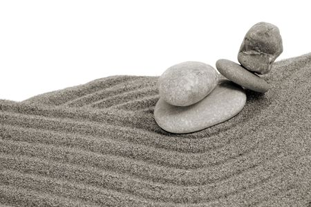 zen stones and sand on a white background photo
