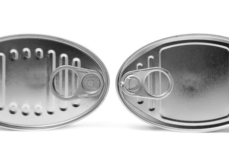 pulltab: two oval cans isolated on a white background Stock Photo