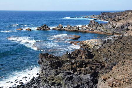 los hervideros: a view of Los Hervideros del Agua in Lanzarote, Canary Islands, Spain Stock Photo