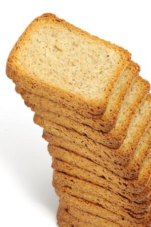 biscotte: pain rusk pieux isol� sur un fond blanc Banque d'images
