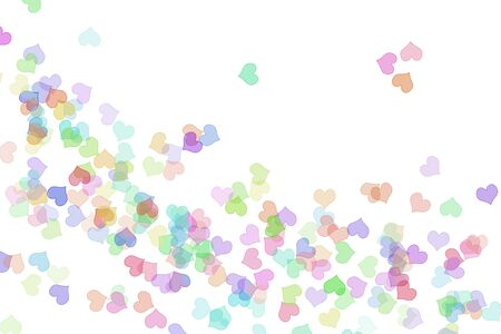 hearts of many colors drawn on a white background photo