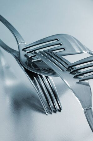 tine: some forks isolated on a white background