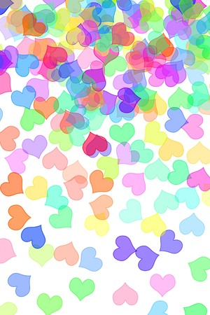 lovingly: some hearts of different colors drawn on a white background