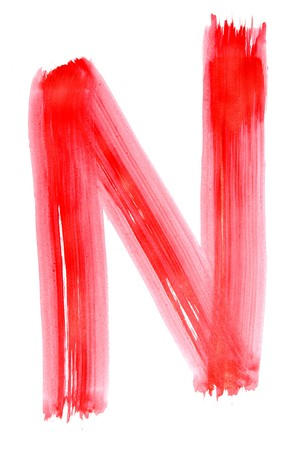 n letter painted on a white background Stock Photo - 6952651