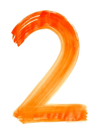 les chiffres: numéro deux peints sur un fond blanc
