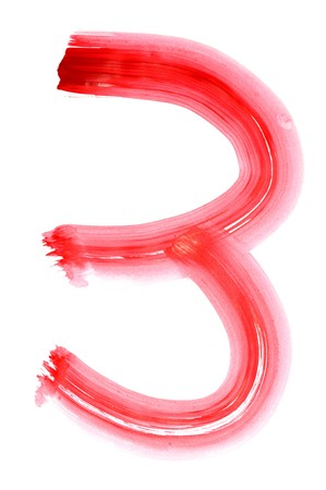 number three painted on a white background Stock Photo - 6952704