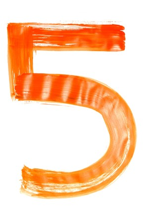 number five painted on a white background Stock Photo - 6952705