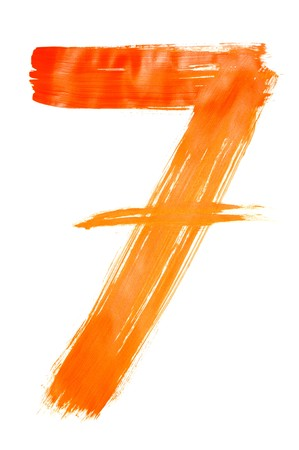 number seven: number seven painted on a white background