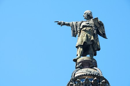 Closeup of the Columbus Monument in Barcelona, Spain photo