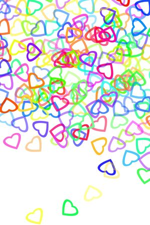 hearts of different colors drawn on a white background Stock Photo - 6952743