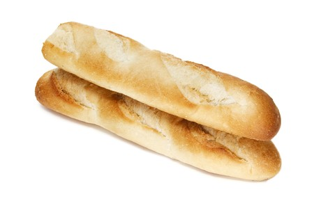 two baguettes isolated on a white background photo