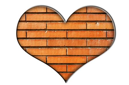 heart made of a close-up of a brick wall on a white background Stock Photo - 6952836