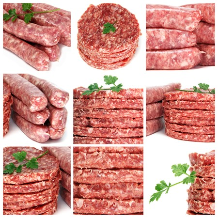 a collage of nine pictures of different minced meat products Stock Photo - 6952841