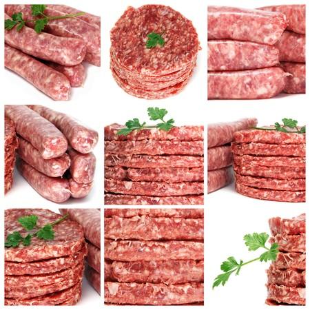 embutidos: un collage de nueve fotograf�as de los productos de carne picada de diferentes