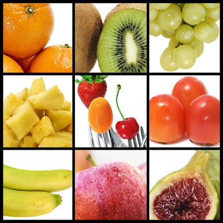 a collage of nine pictures of different fruits Stock Photo - 6952847