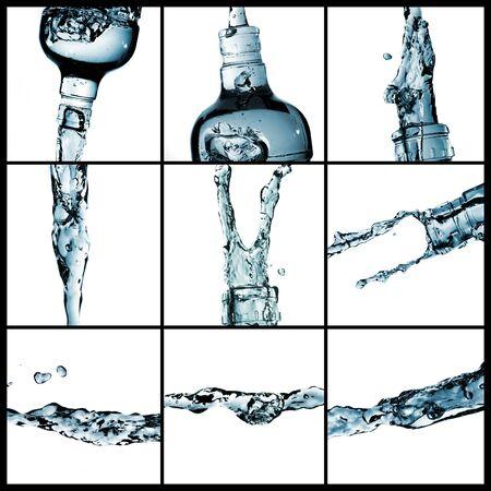 spruzzi acqua: un collage di nove foto di molti spruzzi di acqua
