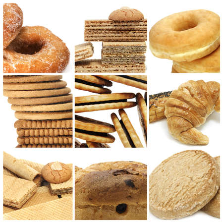 a collage of nine pictures of different biscuits and pastries photo