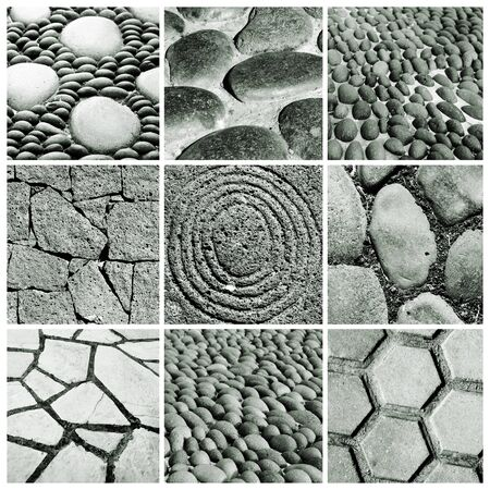 designe: a collage of nine pictures of different stone walls and pavements